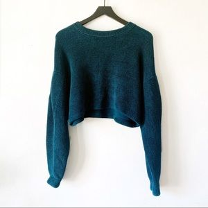 Free People Catch Me Outside Chenille Teal Sweater